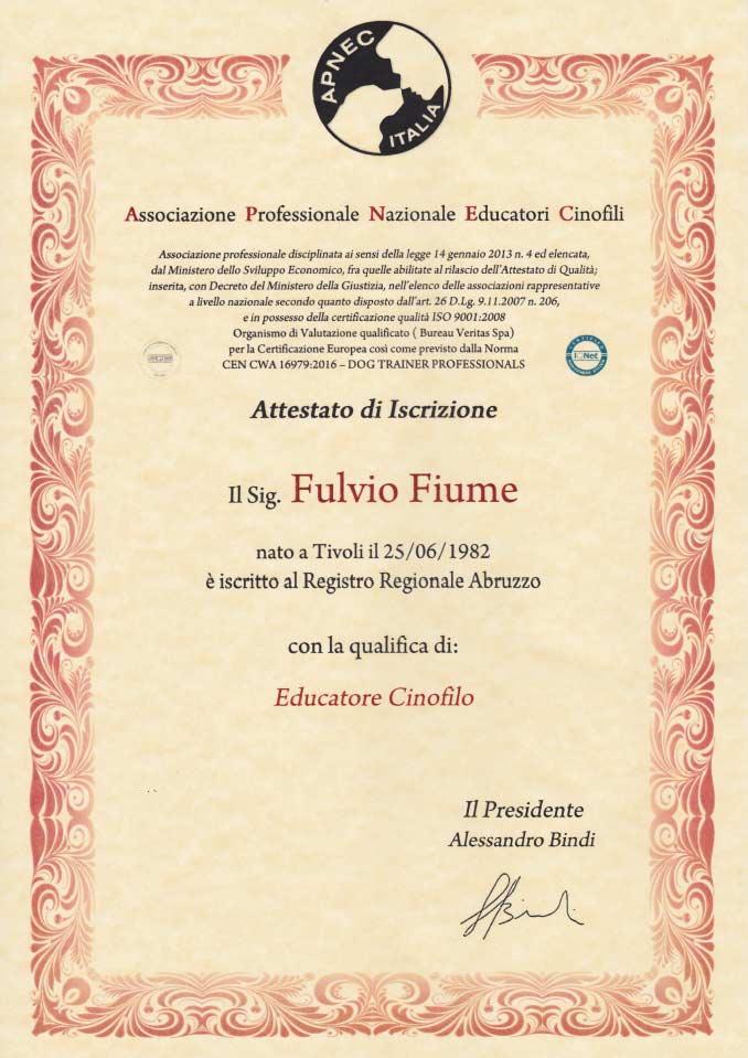 Attestato iscrizione APNEC Fulvio Fiume, qualifica Educatore Cinofilo