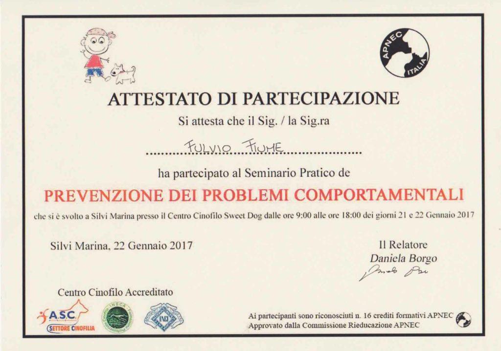 """Attestato partecipazione Fulvio Fiume """"Prevenzione dei problemi comportamentali"""" gennaio 2017, Relatore Daniela Borgo"""