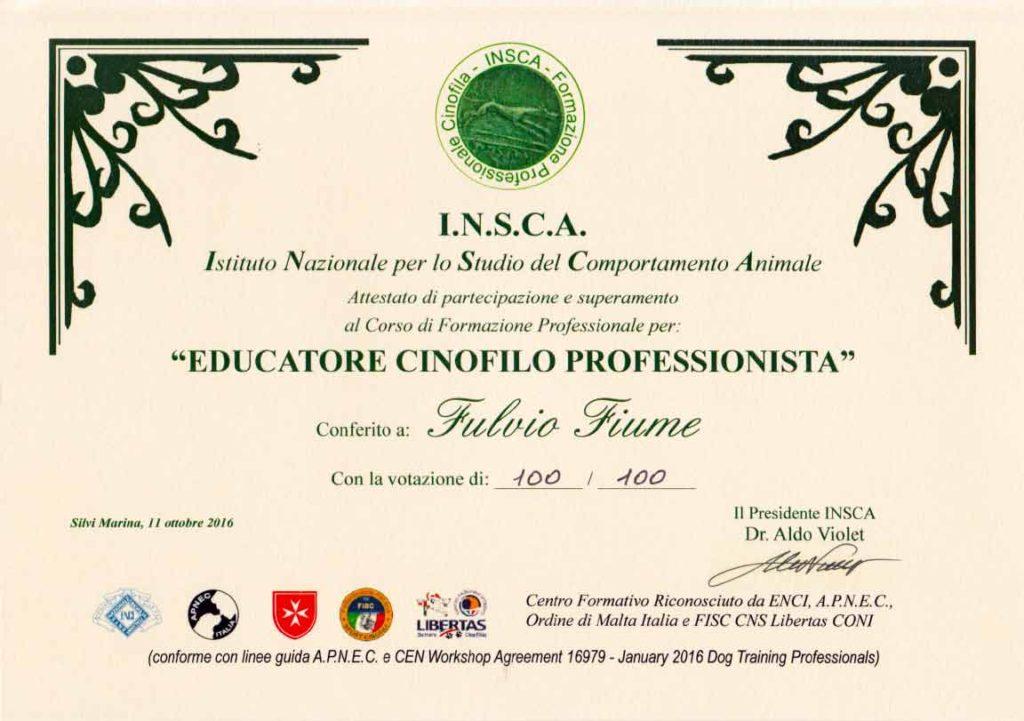 Attestato Educatore cinofilo professionista INSCA, Fulvio Fiume, votazione 100/100