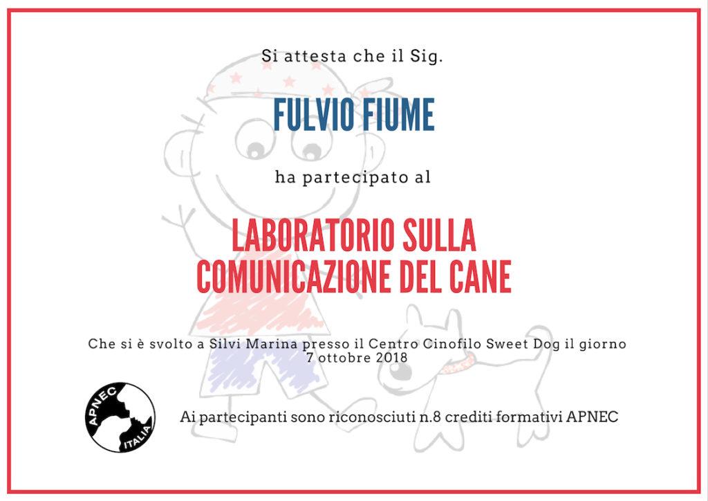 """Attestato partecipazione Fulvio Fiume """"Laboratorio sulla comunicazione del cane"""" seminario gratuito APNEC"""